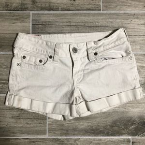 True Religion White Denim Shorts - 31